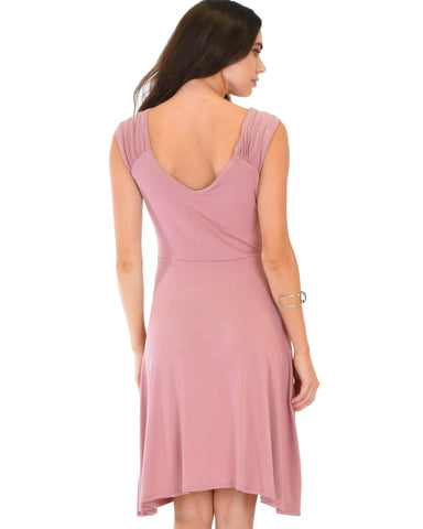 Lyss Loo Little Lover Ruched Mauve Skater Dress - Clothing Showroom