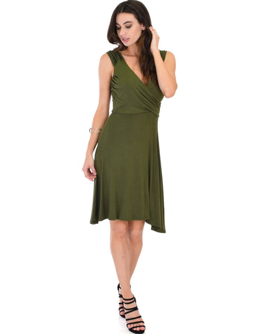 Lyss Loo Little Lover Ruched Olive Skater Dress - Clothing Showroom