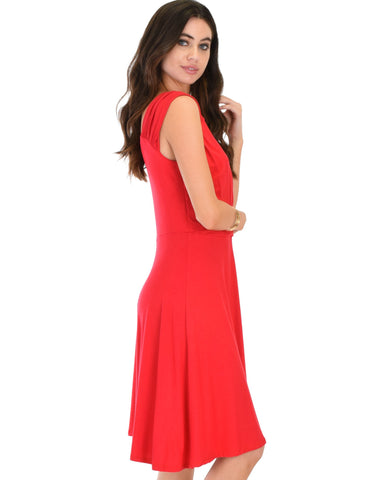 Lyss Loo Little Lover Ruched Red Skater Dress - Clothing Showroom