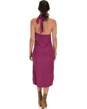 Lyss Loo Wrap Star Halter Berry Midi Wrap Dress - Clothing Showroom