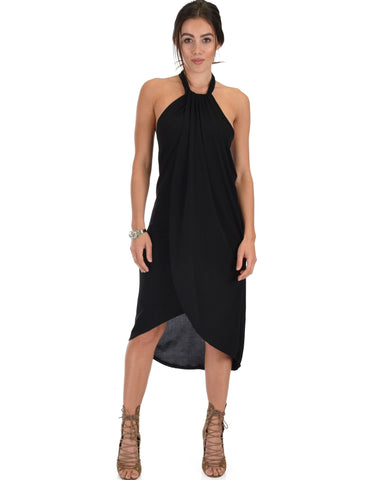 Lyss Loo Wrap Star Halter Black Midi Wrap Dress - Clothing Showroom