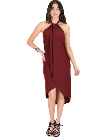 Lyss Loo Wrap Star Halter Burgundy Midi Wrap Dress - Clothing Showroom