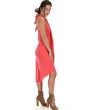 Lyss Loo Wrap Star Halter Coral Midi Wrap Dress - Clothing Showroom