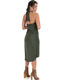Lyss Loo Wrap Star Halter Olive Midi Wrap Dress - Clothing Showroom