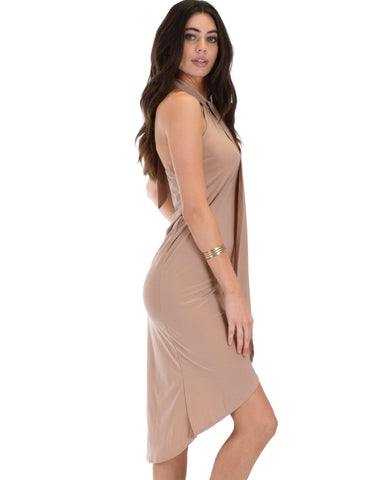 Lyss Loo Wrap Star Halter Taupe Midi Wrap Dress - Clothing Showroom