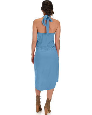 Lyss Loo Wrap Star Halter Teal Midi Wrap Dress - Clothing Showroom