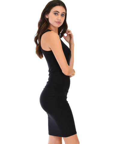 Lyss Loo Timeless Hourglass Ruched Black Bodycon Dress - Clothing Showroom