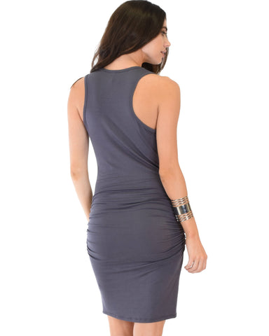 Lyss Loo Timeless Hourglass Ruched Charcoal Bodycon Dress - Clothing Showroom