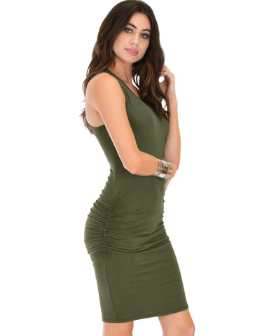 Lyss Loo Timeless Hourglass Ruched Olive Bodycon Dress - Clothing Showroom