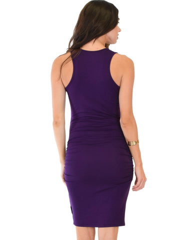 Lyss Loo Timeless Hourglass Ruched Purple Bodycon Dress - Clothing Showroom