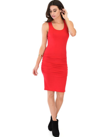 Lyss Loo Timeless Hourglass Ruched Red Bodycon Dress - Clothing Showroom