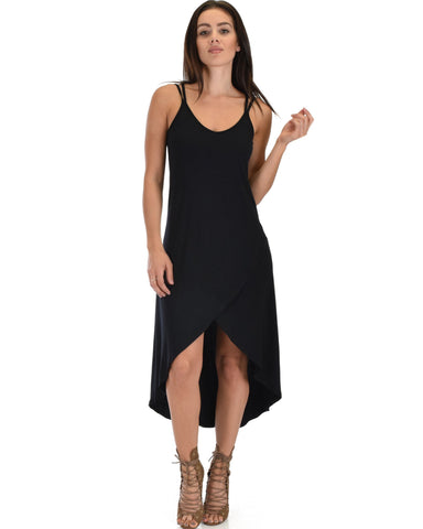 Lyss Loo All Wrapped Up Strappy Black Wrap Dress - Clothing Showroom