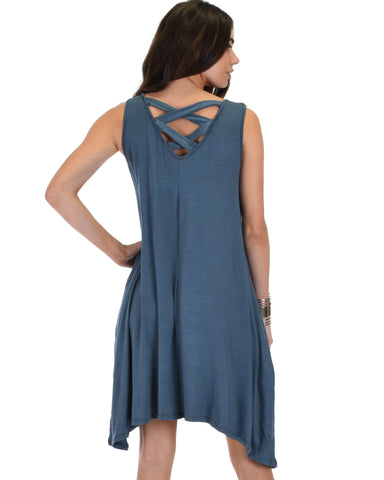 Lyss Loo Cross Back Sleeveless Blue Dress With Pockets - Clothing Showroom