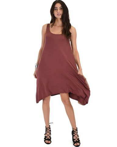 Lyss Loo Cross Back Sleeveless Marsala Dress With Pockets - Clothing Showroom