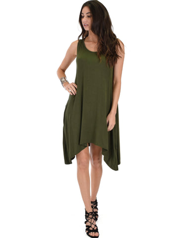 Lyss Loo Cross Back Sleeveless Olive Dress With Pockets - Clothing Showroom