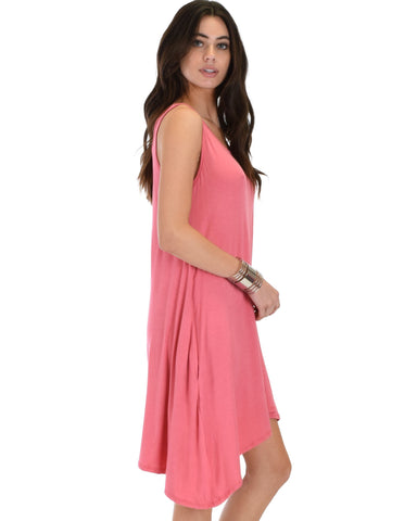 Lyss Loo Cross Back Sleeveless Pink Dress With Pockets - Clothing Showroom
