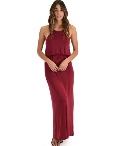 Lyss Loo Cherish The Day Burgundy Maxi Dress With Cinched Waist - Clothing Showroom