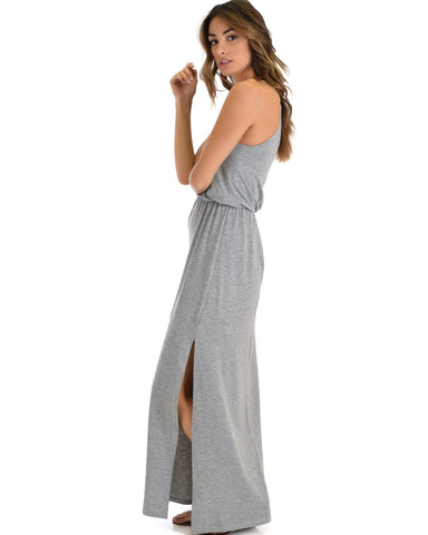 Lyss Loo Cherish The Day Grey Maxi Dress With Cinched Waist - Clothing Showroom