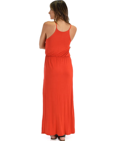 Lyss Loo Cherish The Day Rust Maxi Dress With Cinched Waist - Clothing Showroom