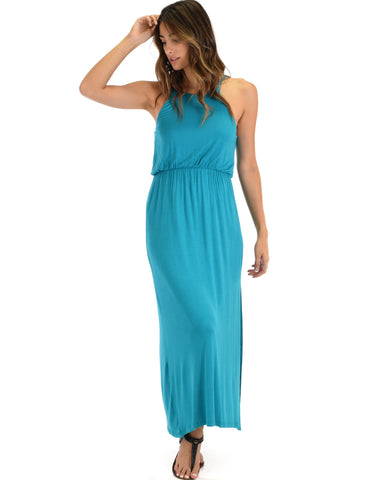 Lyss Loo Cherish The Day Teal Maxi Dress With Cinched Waist - Clothing Showroom