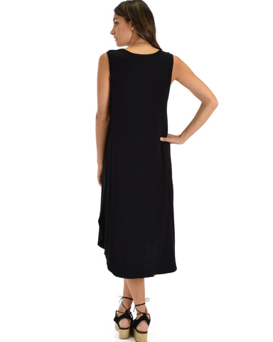 Lyss Loo Mood And Melody Side Slit Black T-Shirt Dress - Clothing Showroom