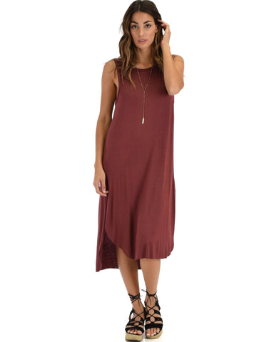 Lyss Loo Mood And Melody Side Slit Marsala T-Shirt Dress - Clothing Showroom
