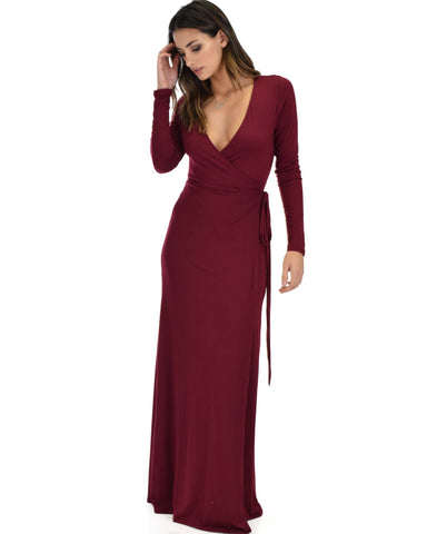 Lyss Loo Celestial Long Sleeve Burgundy Wrap Maxi Dress - Clothing Showroom