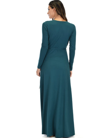 Lyss Loo Celestial Long Sleeve Green Wrap Maxi Dress - Clothing Showroom