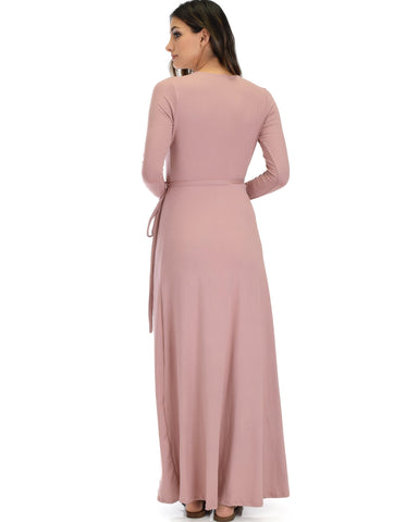 Lyss Loo Celestial Long Sleeve Mauve Wrap Maxi Dress - Clothing Showroom