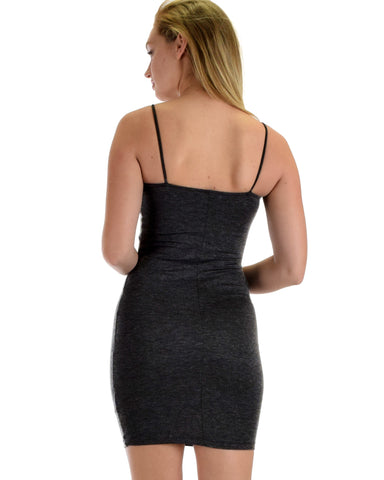 Lyss Loo Hug My Figure Bodycon Charcoal Midi Dress - Clothing Showroom