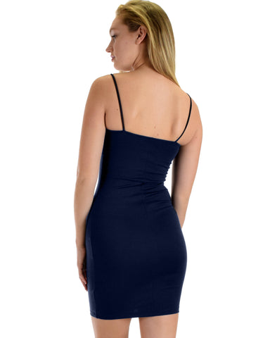 Lyss Loo Hug My Figure Bodycon Navy Midi Dress - Clothing Showroom