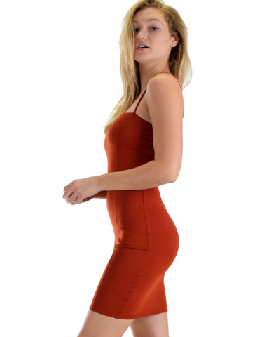 Lyss Loo Hug My Figure Bodycon Rust Midi Dress - Clothing Showroom