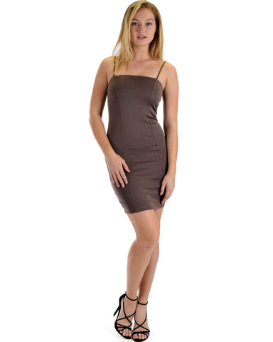 Lyss Loo Hug My Figure Bodycon Taupe Midi Dress - Clothing Showroom