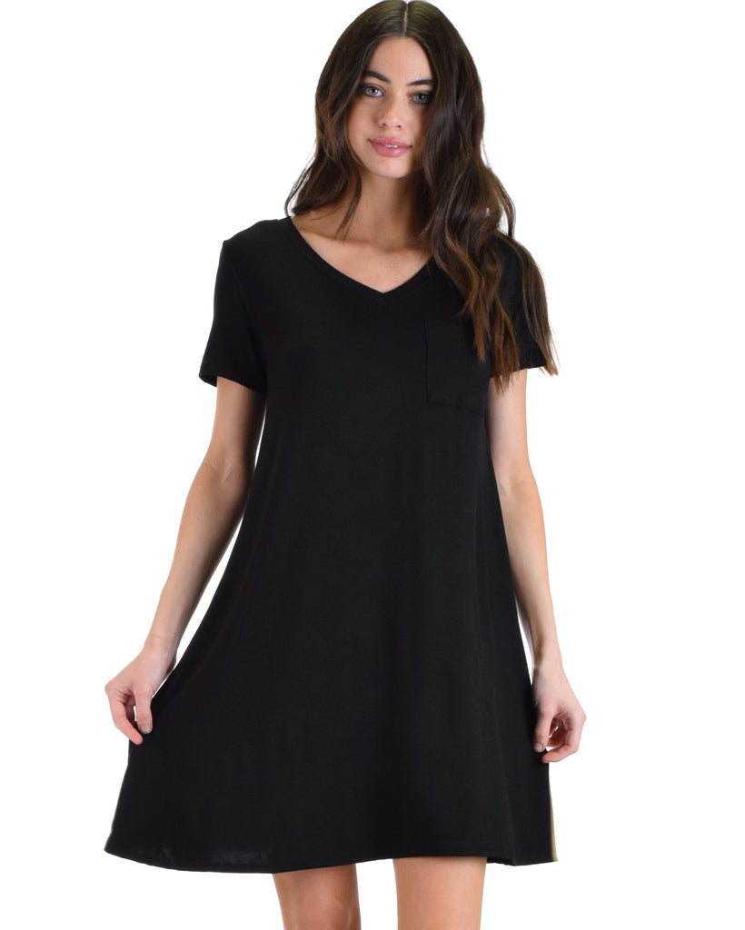 1378671f2 Lyss Loo Better Together Black Shirt Tunic Dress With Pocket - [Clothing  Showroom]