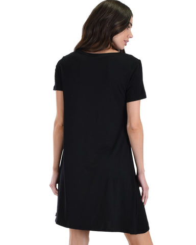 Lyss Loo Better Together Black Shirt Tunic Dress With Pocket - Clothing Showroom