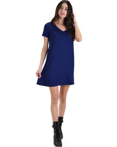 Lyss Loo Better Together Navy Shirt Tunic Dress With Pocket - Clothing Showroom