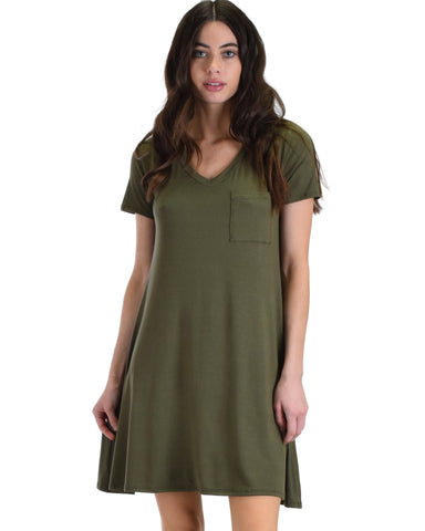 Lyss Loo Better Together Olive Shirt Tunic Dress With Pocket - Clothing Showroom