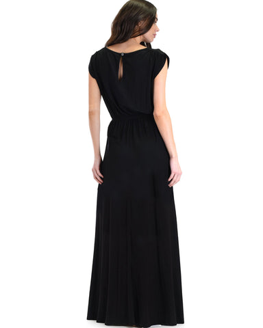 Lyss Loo Timeless Black Maxi Dress With Elastic Waist & Side Slit - Clothing Showroom