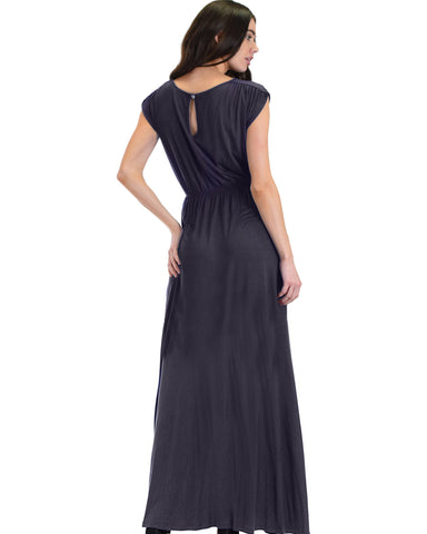 Lyss Loo Timeless Charcoal Maxi Dress With Elastic Waist & Side Slit - Clothing Showroom