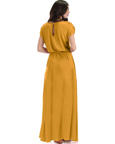 Lyss Loo Timeless Mustard Maxi Dress With Elastic Waist & Side Slit - Clothing Showroom