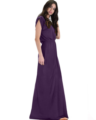 Lyss Loo Timeless Purple Maxi Dress With Elastic Waist & Side Slit - Clothing Showroom