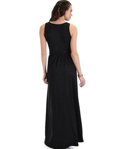 Lyss Loo All Mine Sleeveless Crossover Black Wrap Maxi Dress - Clothing Showroom