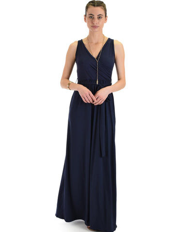 Lyss Loo All Mine Sleeveless Crossover Navy Wrap Maxi Dress - Clothing Showroom