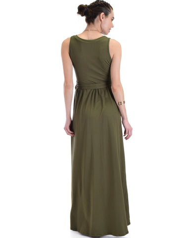 Lyss Loo All Mine Sleeveless Crossover Olive Wrap Maxi Dress - Clothing Showroom
