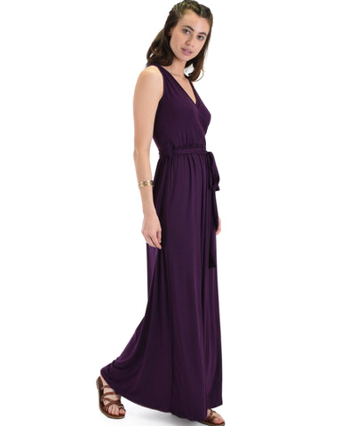 Lyss Loo All Mine Sleeveless Crossover Purple Wrap Maxi Dress - Clothing Showroom