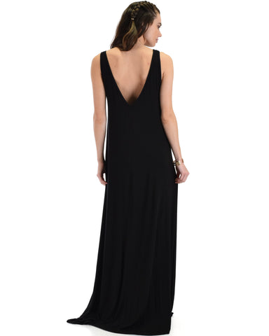 Lyss Loo Lost In Paradise Sleeveless Deep V-Neck Black Shift Maxi Dress - Clothing Showroom