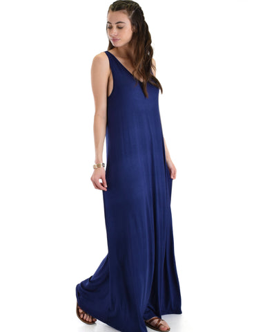 Lyss Loo Lost In Paradise Sleeveless Deep V-Neck Navy Shift Maxi Dress - Clothing Showroom