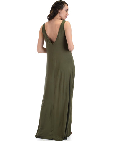 Lyss Loo Lost In Paradise Sleeveless Deep V-Neck Olive Shift Maxi Dress - Clothing Showroom