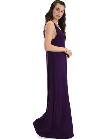 Lyss Loo Lost In Paradise Sleeveless Deep V-Neck Purple Shift Maxi Dress - Clothing Showroom