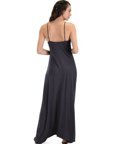 Lyss Loo Wanderlust Sweetheart Charcoal Shift Maxi Dress - Clothing Showroom